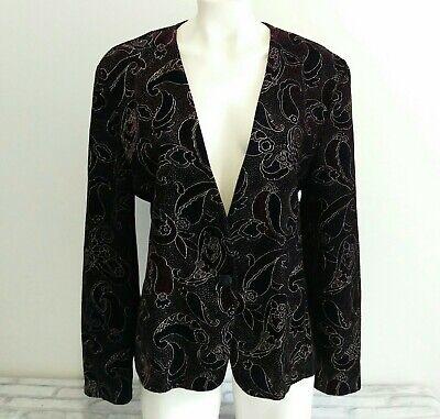 Norton McNaughton Women's Vintage Velvet Blazer Jacket Black Paisley Floral 12 Black Velvet Blazer Jacket