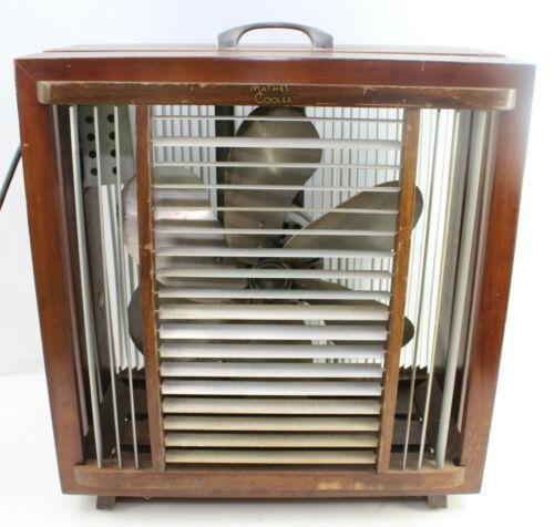 Vintage Mathes Cooler Model 546 6-Blade 4 Speed Control Wood Fan Adjustable Vent