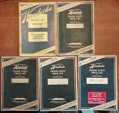 Lot Of 5 Old Waukesha Engine Parts Price List Booklets