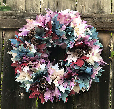 Fall Autumn Wreath with Dusty Blue Light Purple Cream Maple Leaves and Pinecones
