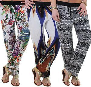 pantalon femmes de plage d 39 t coupe straight leg ou bouffant motif capri 11q ebay. Black Bedroom Furniture Sets. Home Design Ideas