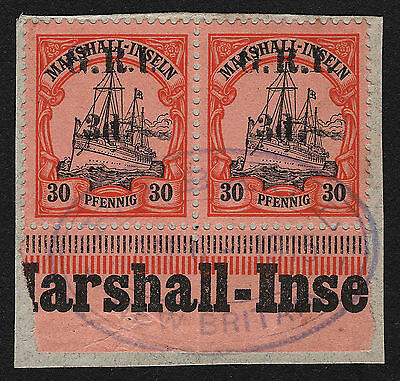 OPC 1914 New Britain Marshall Mi#6I Pair Left missing dot after 3d Rabaul Cancel
