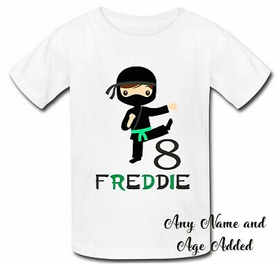 Personalised ninja birthday top tshirt 3 4 5 6 7 8 9 any name age boy girl