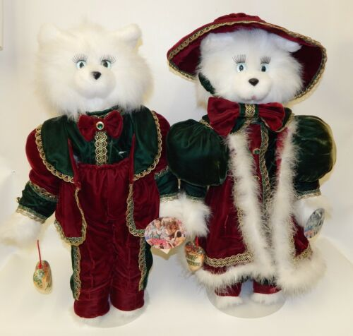 Pair Tall White Plush Victorian Christmas Cats Ina Baker Tilly Collectibles NWT