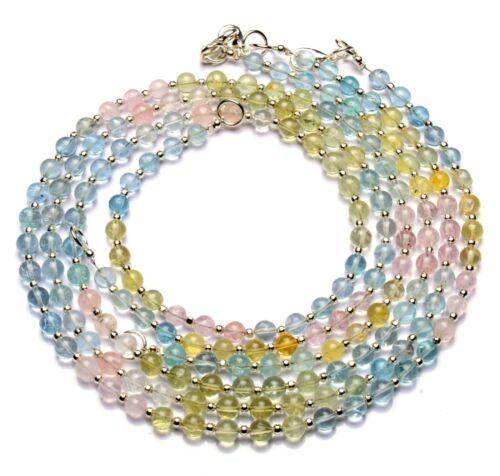 "Natural Gem Brazil Multicolor Aquamarine 5.5MM Size Round Beads Necklace 18"""