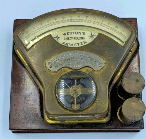 1890 ANTIQUE WESTON DIRECT READING AMMETER METER MODEL No 923 ORIG WOOD BASE NJ