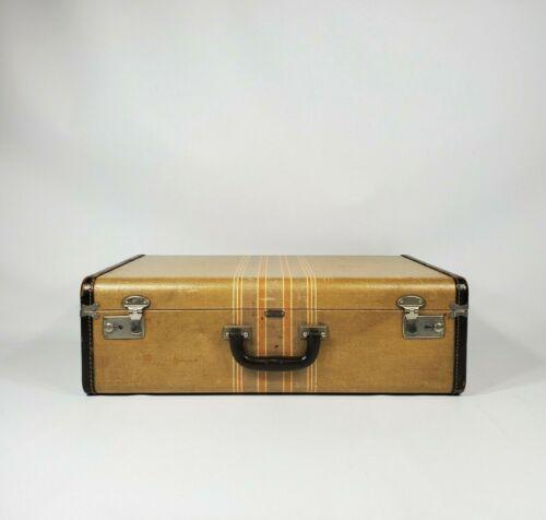 """Vintage Striped Tweed Suitcase 21"""" Antique Luggage 1940"""