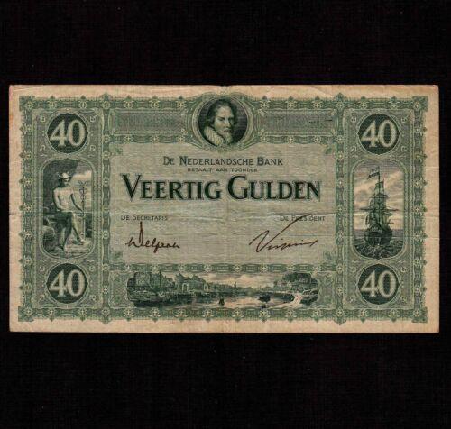 Netherlands 40 Gulden 1923 P-37 * F-VF, many pinholes * Rare *
