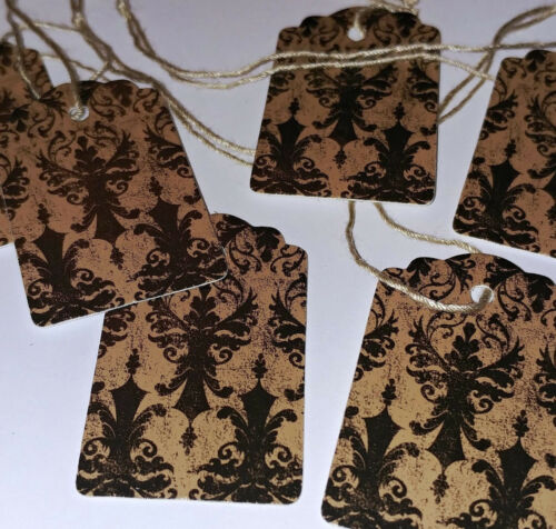 100 SMALL Damask Merchandise Price Tags Strung Distressed