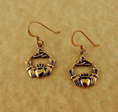 (Bronze Irish Claddagh Earrings with Celtic Trinity Knots)