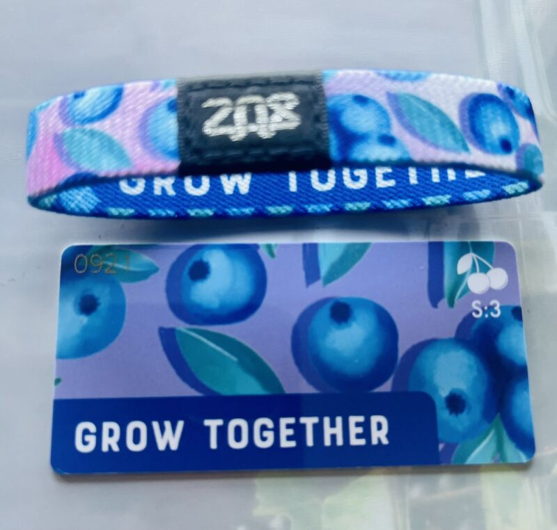 S:3 Medium ZOX Singles Strap GROW TOGETHER - Reversible Wristband - Blueberries
