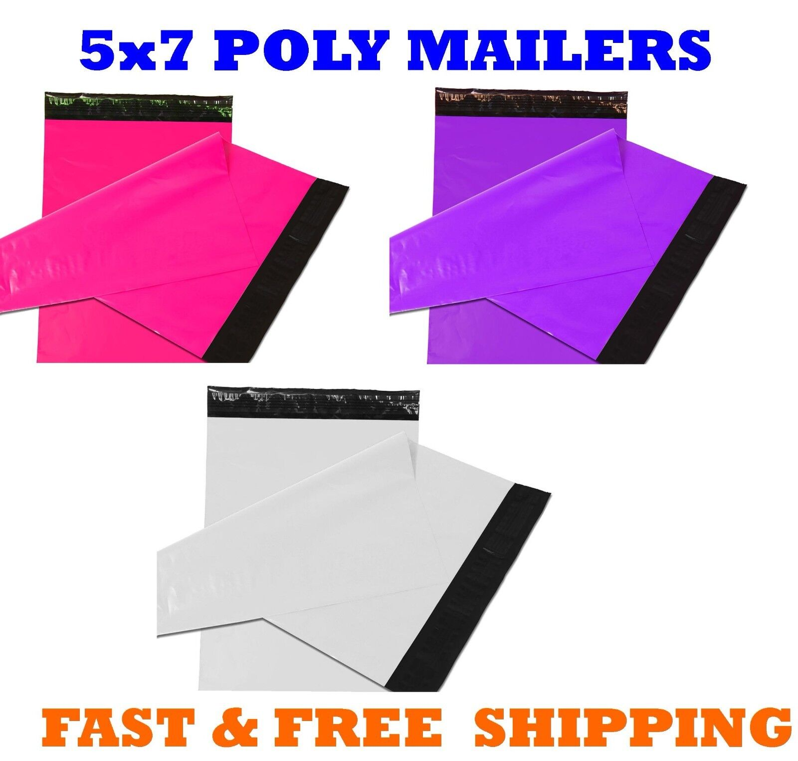 5x7 Color POLY MAILERS Shipping Envelopes Self Sealing Maili