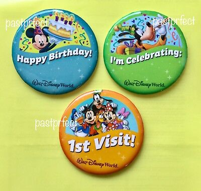Happy Birthday Button (Disney World 3 Button 1st Visit Happy Birthday I'm Celebrating Goofy + Maps)