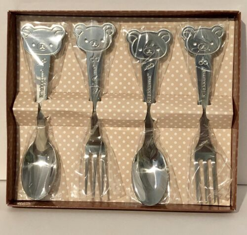 Rilakkuma Stainless Steel Spoon Chopsticks Set Brown Made in Korea for Kids