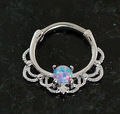 - 1 Pc 316L Surgical Steel Lacey Single Purple Opal Septum Clicker Nose Ring 16G