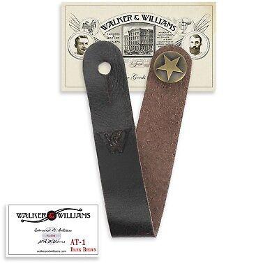 Walker & Williams AT-1 Dark Brown Acoustic Guitar Strap Button Headstock Adaptor