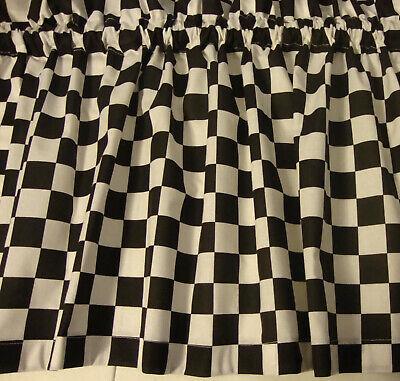 Valance Black and White Check Race Car Curtain Window Treatment  Custom Made ()