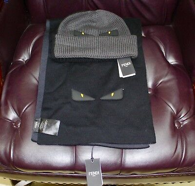 Authentic Fendi Roma set- Cap and Scarf, 100% wool