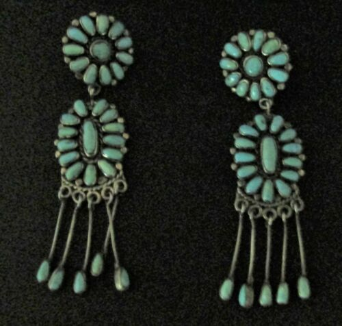 Vintage Native American Earrings - Sterling Silver and Turquoise