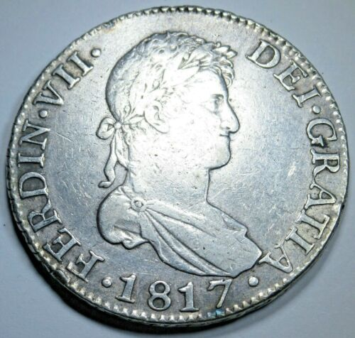 1817 S CJ Spanish Seville 8 Reales Antique Colonial Silver Dollar Coin