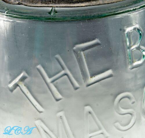 Pristine BALL MASON error - mistake JAR w/ 1858 Patent Date early GROUND TOP