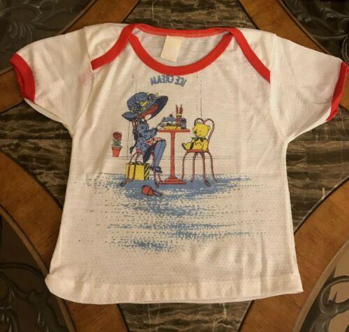 Vintage Girls Pajama Top 1980s Thermal Graphics Sleep Shirt Short Sleeve 6 / 7