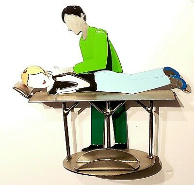 Chiropractor Masseuse Business Card Holder Sculpture Display Recycled Steel Hk