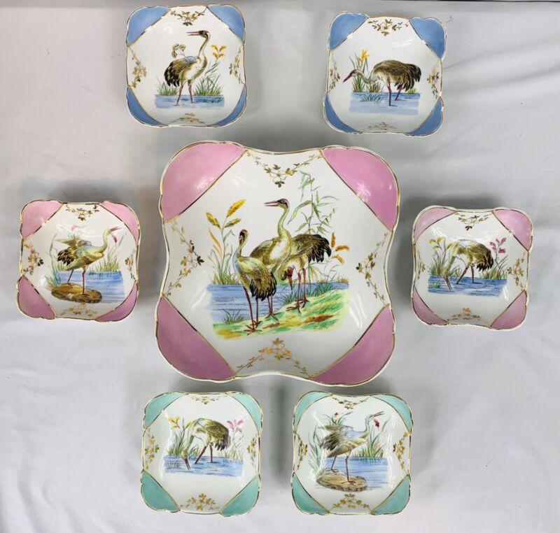 ANTIQUE French Porcelain HAND PAINTED EGRETS MARSH Paris RARE Set of Bowls