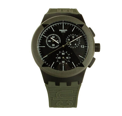 Swatch X-DISTRICT SUSB414 Chronograph Men's 42mm Black Dial Olive Green Band Wat