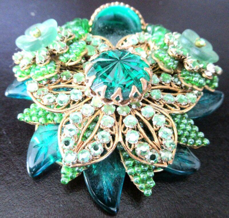 STANLEY HAGLER NYC Green Rhinestone Leaves & Flowers Vintage Pin Brooch