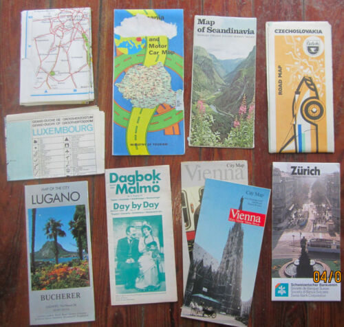 Lot of 10 European Maps Countries & Cities, Vienna,Zurich,Bruxelles,Romania etc.