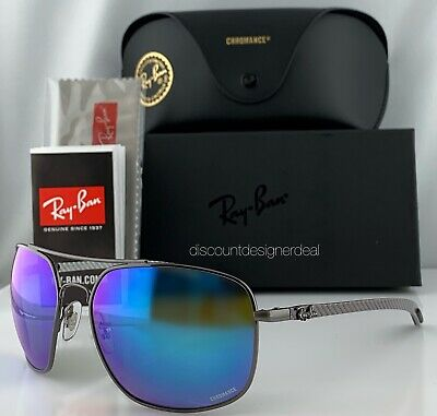 91a65d37ca Ray-Ban RB8322CH 004 A1 Sunglasses Blue Mirror Polarized Chromance Carbon  62mm