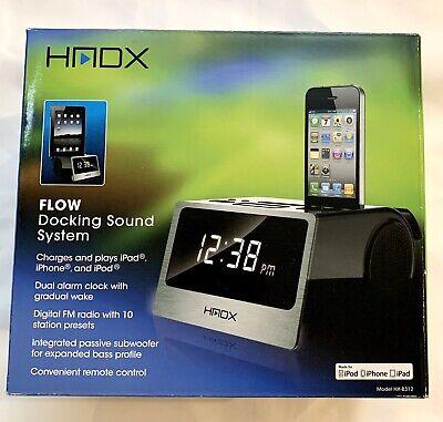 New HMDX Flow Docking Sound System Alarm Clock Plays iPad, iPhone & iPod