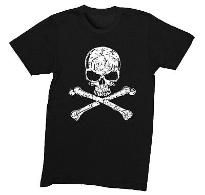 Mens Distressed White Skull and Crossbones Pirate Jolly Roger Gaspar T-Shirt Skull Crossbones Pirate