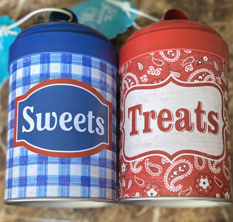 The Pioneer Woman Gingham Sweets And Bandana Treats Metal Canister Farmhouse