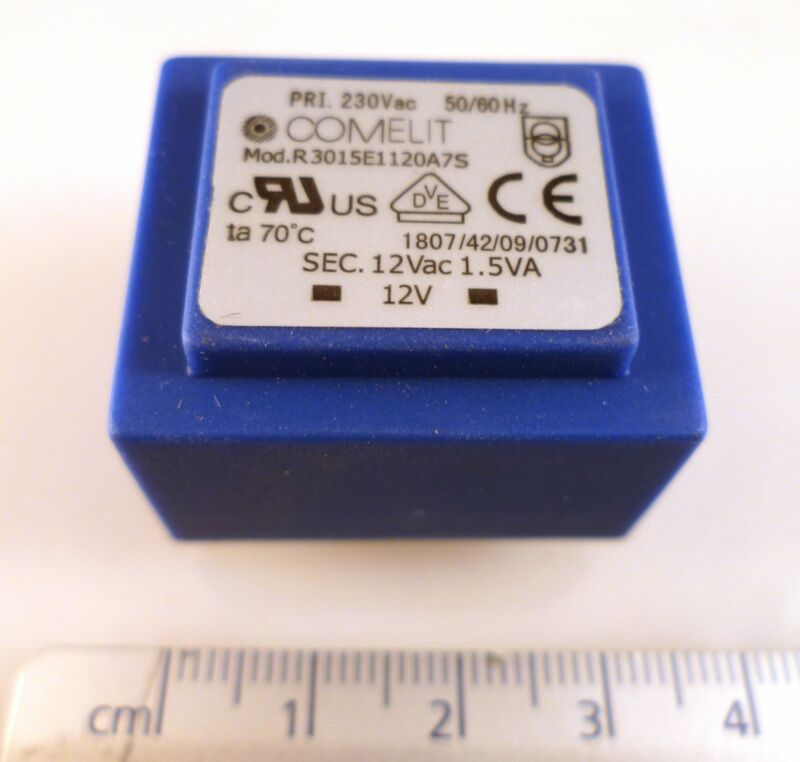 Comelit R3015E1120A7S Transformer Prim: 230Vac Sec: 12Vac 1.5VA MBE003i