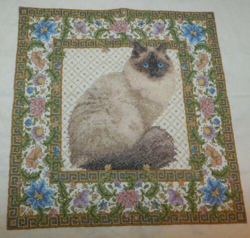 TAPESTRY CAT Finished Teresa Wentzler Cross Stitch Piece Himalayan Persian
