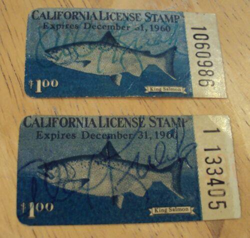 "1960 Lot of 2  ""CALIFORNIA LICENSE STAMP""~King Salmon~"