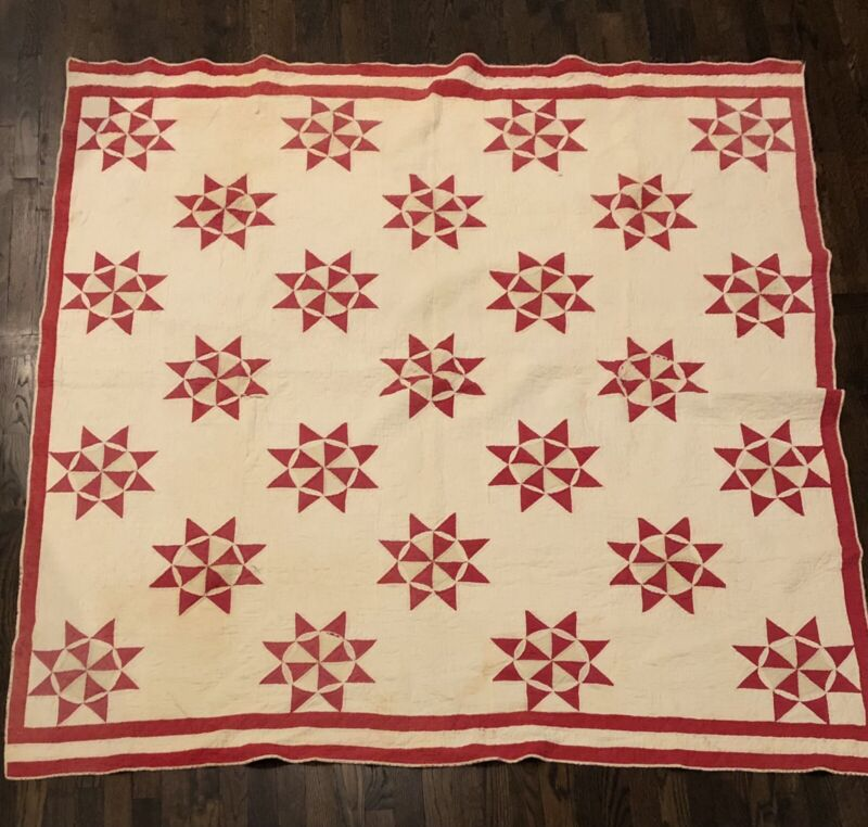 Antique Red And White Star Quilt With Red Border