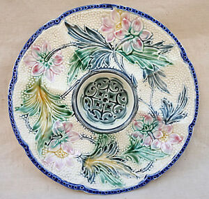 """Wasmuel Belgium Faience Flowered Oyster Plate 1890 - France - French- antic Gallery on eBay Wasmuel Belgium Faience Flowered Oyster Plate 1890 Rare flowered oyster plate in faience with 8 compartments made by Wasmuel factory during the 1890's. It's signed on the back. 10"""" diameter. Perfect condition as pres - France"""