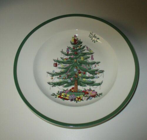 "Spode Christmas Tree  Dinner Plates Green Trim 10.5"" New Unused NWT Set of 6"