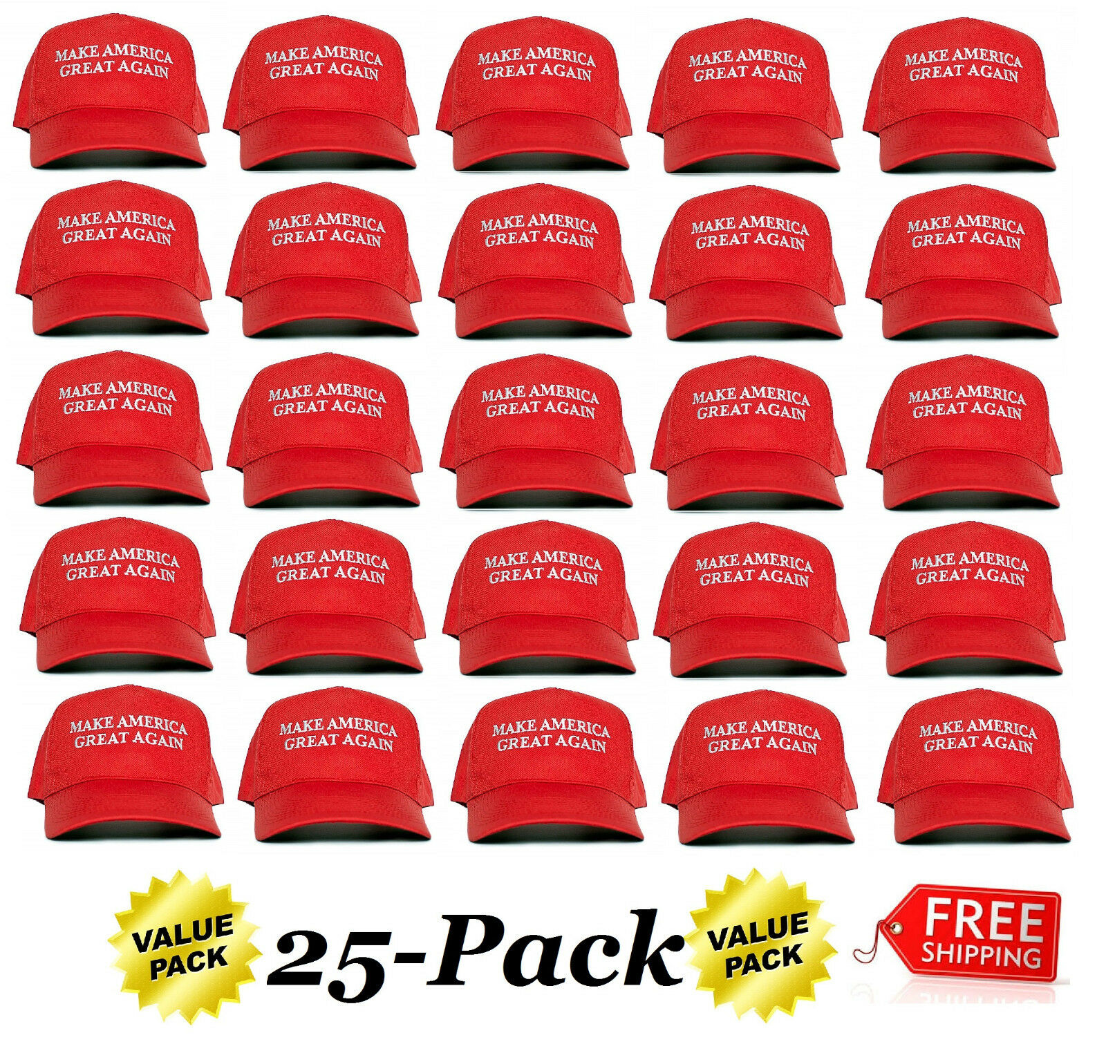 "US SELLER! Ultimate 25-Pack 'Make America Great Again"" Trump MAGA Red Hats Clothing, Shoes & Accessories"