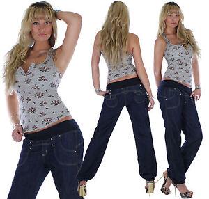 damen jeans hose chino boyfriend aladin baggy harem pluder. Black Bedroom Furniture Sets. Home Design Ideas