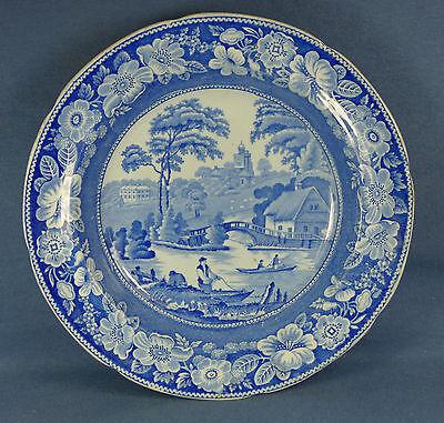 Early 1800s Ironstone Blue Transferware English Scene w/ Boat, People, Buildings