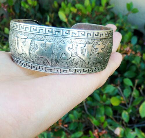 Big Vintage Tibetan Carved Mantra OM MANI PADME HUM Amulet Cuff Bracelet
