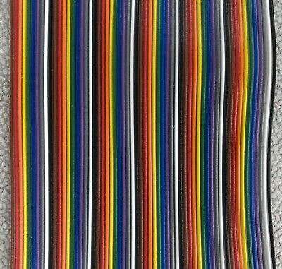 60 Pin Rainbow Flat Ribbon Cable Wire .1 Pitch - Price Per Foot
