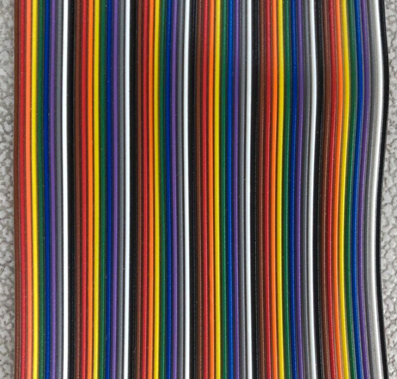 """60 Pin Rainbow Flat Ribbon Cable Wire .1"""" Pitch - Price Per Foot"""
