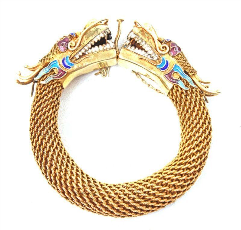 Antique Chinese Gilt & Enameled Silver Dragon Head Bracelet