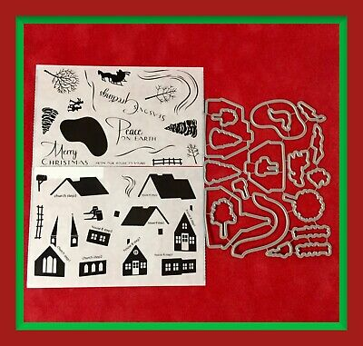 Papertrey Ink WINTER VILLAGE Stamp Set & DIE ***NEW***
