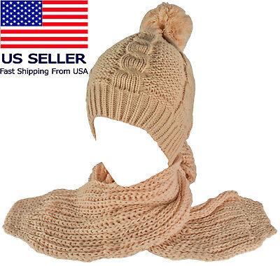 Pom-Pom Beanie + Scarf Set Knit Winter Plain Cap Skull Ski Warm Unisex New Cuff